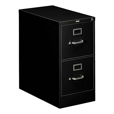 "HON - 310 Series Vertical File Cabinet, 2-Drawer, Full-Suspension, Letter, 26-1/2"" Depth - Black"