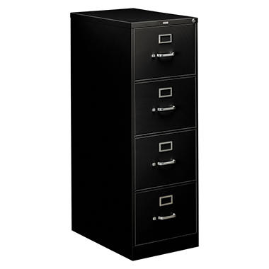 "HON - 310 Series File Cabinet, 4-Drawer, Full Suspension File, Legal, 26-1/2"" - Black"