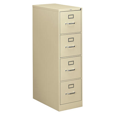 "HON - 310 Series Vertical File Cabinet, 4-Drawer, Full-Suspension, Letter, 26-1/2"" Depth - Putty"