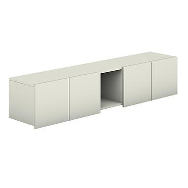HON Voi Overhead Cabinet - 4 Doors/1 Cubby - Silver Mesh