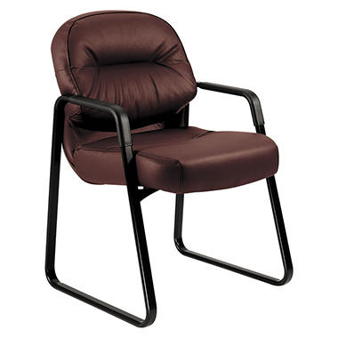 HON - Leather 2090 Pillow-Soft Series Guest Arm Chair - Burgundy