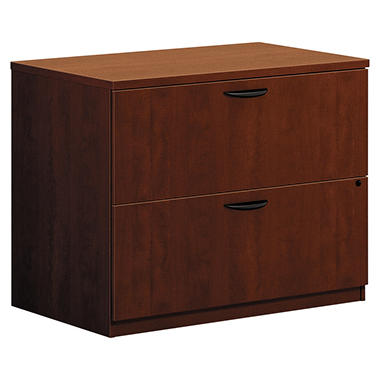 "basyx by HON - BL Laminate Lateral File Cabinet, 2-Drawer, Letter/Legal, 35¾"" Width - Medium Cherry"