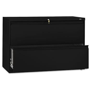 "HON - 800 Series Lateral File Cabinet, 2-Drawer, Letter/Legal, 42"" Width - Black"