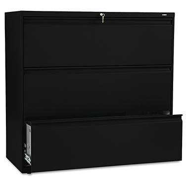 "HON - 800 Series Lateral File Cabinet, 3-Drawer, Letter/Legal, 42"" Width - Black"