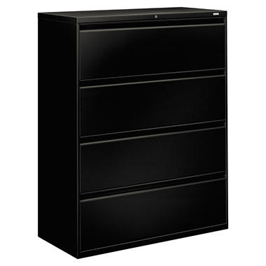 "HON - 800 Series Lateral File Cabinet, 4-Drawer, Letter/Legal, 42"" Width - Black"
