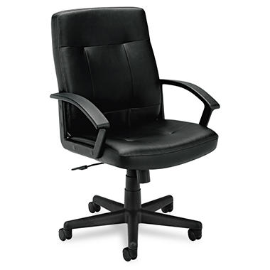 basyx by HON - VL602 Managerial Mid- Back Chair - Black Leather