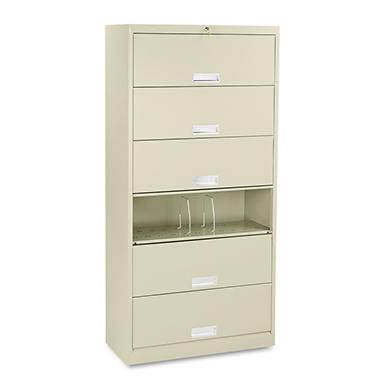 HON - 600 Series Steel Receding Door File, 6-Shelf, Legal, 36