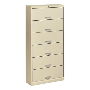 "HON - 600 Series 6-Shelf Steel Receding Door File, Letter, 36""W x 13-3/4""D - Putty"