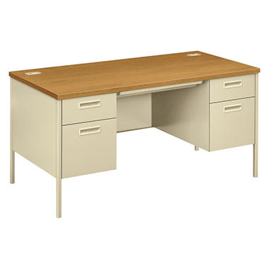 HON - Metro Classic Double Pedestal Desk - Harvest/Putty