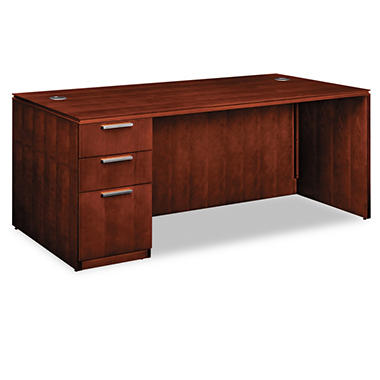 HON - Arrive™ Wood Veneer Series Single Pedestal Desk