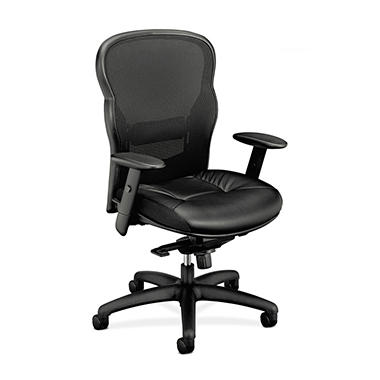 basyx by HON - VL701 High- Back Swivel/Tilt Work Chair - Black Mesh/Leather
