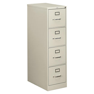 "HON - 510 Series Vertical File Cabinet, 4-Drawer, Full-Suspension, Letter, 25"" Depth - Light Gray"