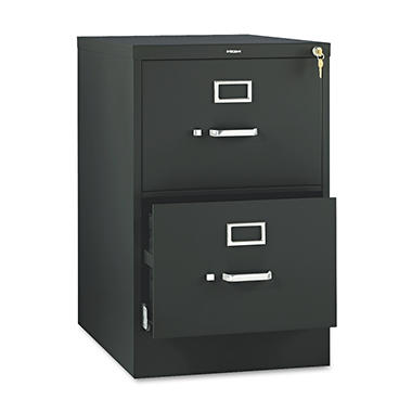 "HON - 510 Series Vertical File Cabinet, 2-Drawer, Full-Suspension, Legal, 25"" Depth - Black"