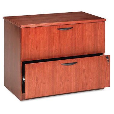"basyx by HON -BW Veneer Series 2-Drawer Lateral File Pedestal, 36¼"" Width - Bourbon Cherry"