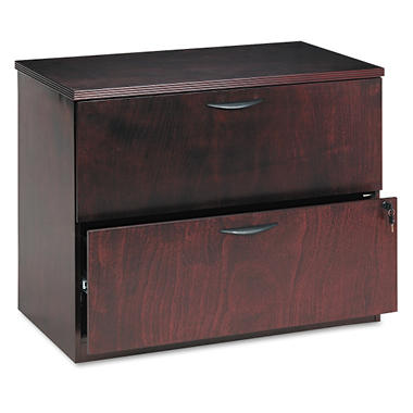"basyx by HON - BW Veneer Series Lateral File Pedestal, 2-Drawer, 36¼"" Width -  Mahogany"