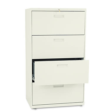 "HON - 500 Series Lateral File Cabinet, 4-Drawer, Letter/Legal, 30"" Width - Putty"
