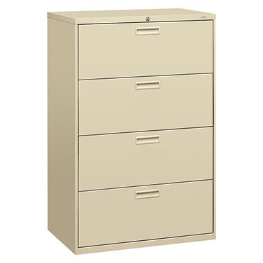 "HON - 500 Series Lateral File Cabinet, 4-Drawer, Letter/Legal, 36"" Width - Putty"