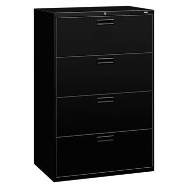 "HON - 500 Series Lateral File Cabinet, 4-Drawer, Letter/Legal, 36"" Width - Black"