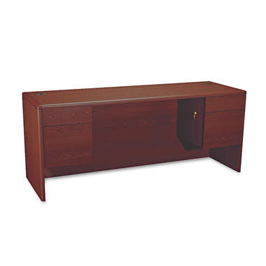 HON - 10700 Kneespace Credenza - 3/4 Double Height Pedestals - Mahogany
