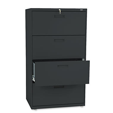 "HON - 500 Series Lateral File Cabinet, 4-Drawer, Letter/Legal, 30"" Width - Black"