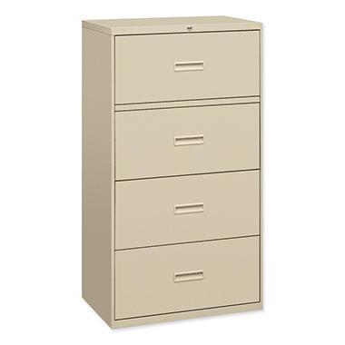 "basyx by HON - 400 Series Lateral File Cabinet, 4-Drawer, Letter/Legal, 36"" Width - Putty"