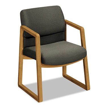 HON - 2400 Series Guest Arm Chair, Harvest Finish - Gray Fabric