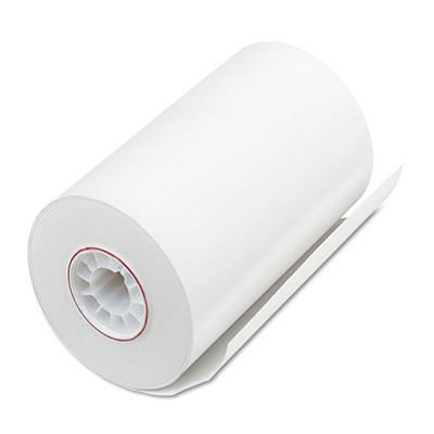 "PM Company - Single-Ply Thermal Cash Register/POS Rolls, 3-1/8"" x 90 ft., White - 72/Carton"