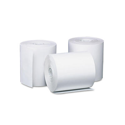 "PM Company Single-Ply Thermal Cash Register/POS Rolls, 3-1/8"" x 119 ft., White - 50/Carton"