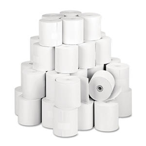 "PM Company - Single-Ply Thermal Cash Register/POS Rolls, 3-1/8"" x 273 ft., White - 50/Carton"