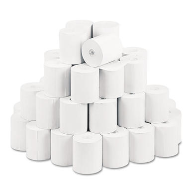 "PM Company - Single-Ply Thermal Cash Register/POS Rolls, 3-1/8"" x 230 ft., White - 50/Carton"