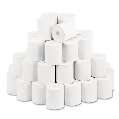 """PM Company - Single-Ply Thermal Cash Register/POS Rolls, 3-1/8"""" x 230 ft., White - 50/Carton"""