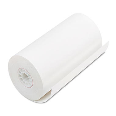 "PM Company - Single-Ply Thermal Cash Register/POS Rolls, 4-9/32"" x 115 ft., White - 25/Carton"