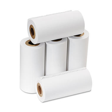 "PM Company - One-Ply Adding Machine/Calculator Rolls, 2-1/4"" x 17 ft, White - 5/Pack"