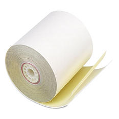 "PM Company - Paper Rolls, Two-Ply Receipt Rolls, 3"" x 90 ft, White/Canary - 50/Carton"