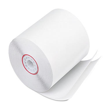 "PM Company - Paper Rolls, Two-Ply Receipt Rolls, 3"" x 90 ft, White/White - 50/Carton"