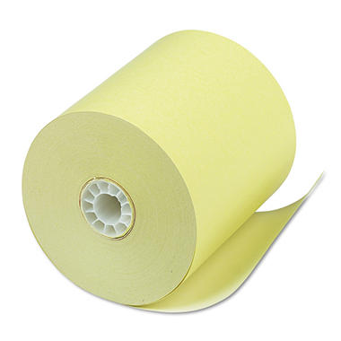 "PM Company - Single-Ply Thermal Cash Register/POS Rolls, 3-1/8"" x 230 ft., Canary - 50/Carton"
