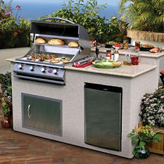 6 Ft. Stucco BBQ Grill Island With Granite Top - 4 Burner Gas Grill