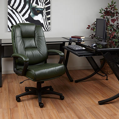 Deluxe High Back Executive Leather Chair - Green