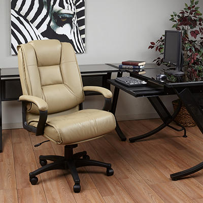 Deluxe High Back Leather Executive Chair - Tan