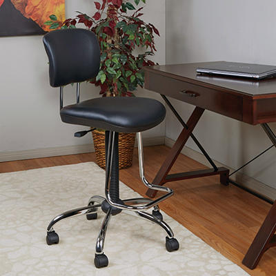Work Smart Chrome Finish Economical Chair with Teardrop Footrest - Black