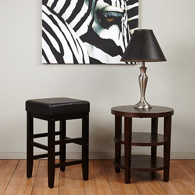 "OSP Designs Metro 25"" Square Barstool with Black Faux Leather Seat"