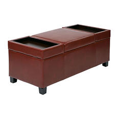 Geneva Storage Ottoman - Crimson Red