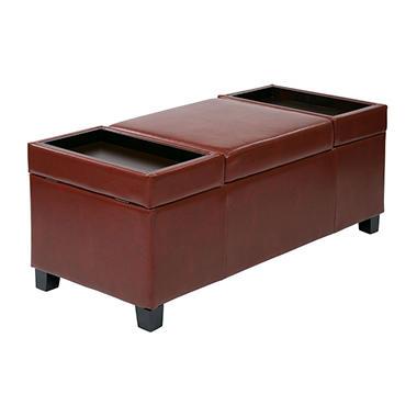 Geneva Storage Ottoman - Crimson Red