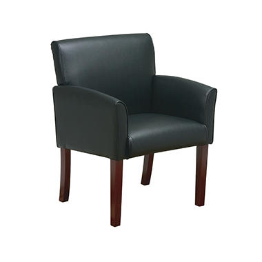Office Star - Vinyl Modular Chair with Cherry Finish Legs