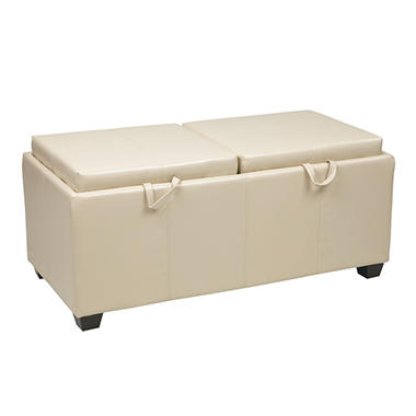 OSP Designs Metro Storage Ottoman with Reversible Dual Seat Cushions & Dual Wood Trays - Dark Brown Faux Leather