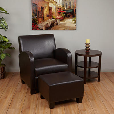 Espresso Faux Leather Club Chair with Ottoman