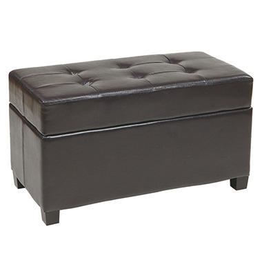 OSP Designs Metro Dark Brown Faux Leather Storage Ottoman/Chest
