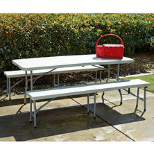 Work Smart 3 Piece Folding Table and Bench Set - White