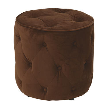Avenue Six Curves Tufted Round Ottoman - Chocolate Velvet