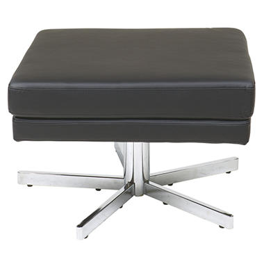 Avenue Six Yield Ottoman - Black Faux Leather